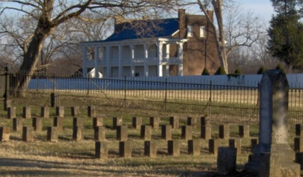 The cemetery and manor house of Carnton Plantation